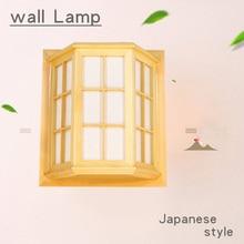 Japanese Style Pine Camphor Wood PVC Crafts Wooden Window Frame LED AC 110/220V Aisle Wall Light Fixture luminarias para
