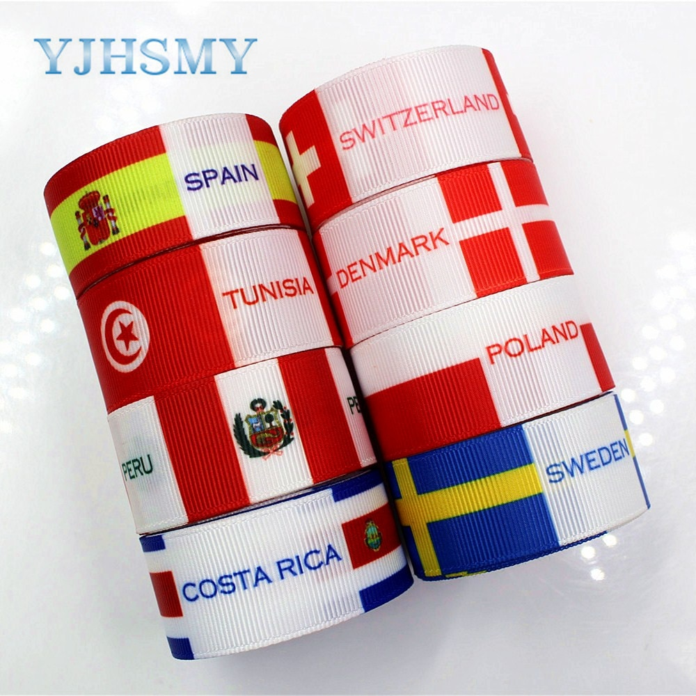 YJHSMY 181113 25 mm 10 yard National flag series grosgrain Ribbon Thermal transfer Printed Wedding Accessories DIY material