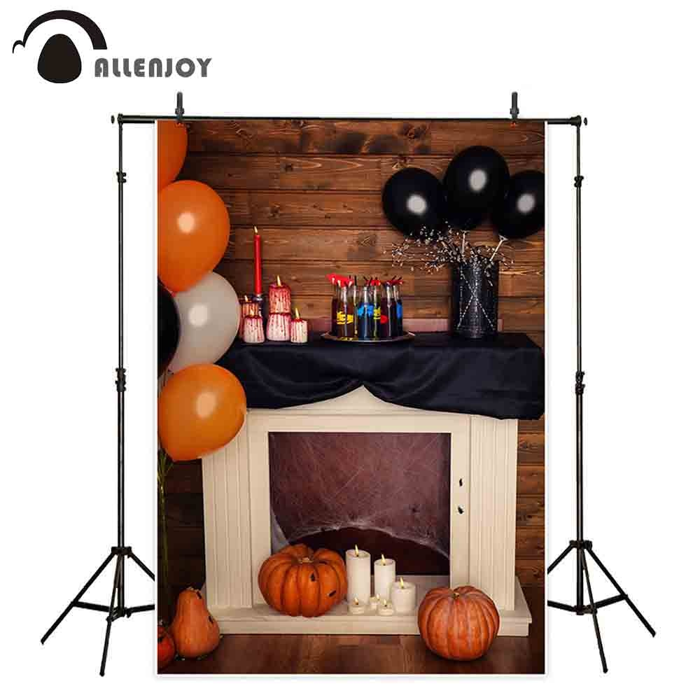 Allenjoy fotografía telón de fondo halloween fiesta chimenea madera calabaza decoración globos niños Fondo sesión fotográfica