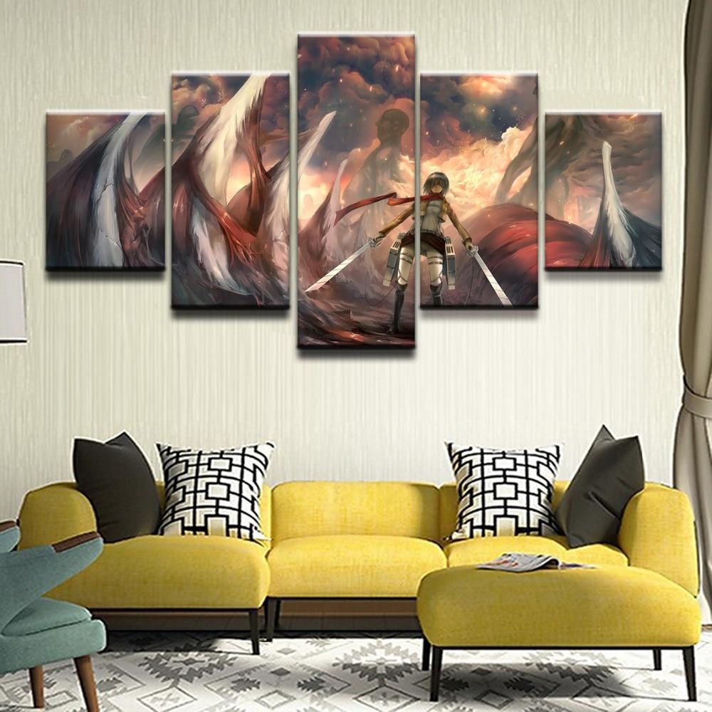 Cuadro moderno de lienzo para pared, marco de fotos Modular, decoración del hogar, 5 piezas, cartel de Anime al óleo Attack on Titan Mikasa Ackerman
