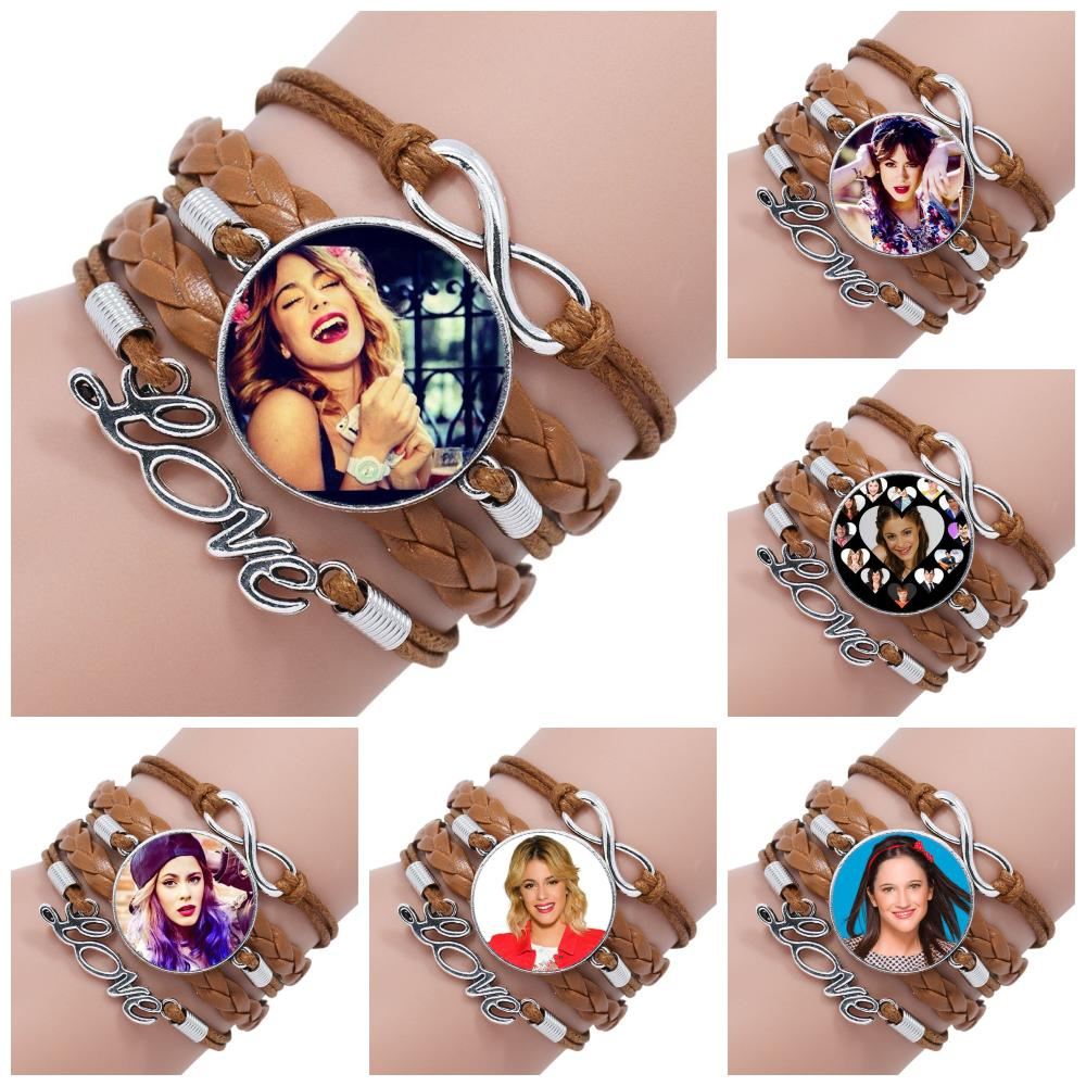 Para niñas Violetta joyería de moda barata con cabujón de cristal multicapa negro/marrón brazalete de cuero