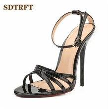 SDTRFT Plus US14 15 16 17 18 19 damskie Crossdress sandały letnie eleganckie 13cm buty na cienkich wysokich obcasach wąskie paski buty czółenka z wystającym palcem