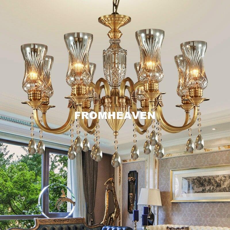 Livraison gratuite 100% cuivre pendentif cristal Lustre Lingting luxueux LED AC Bronze cristal lampe Lustre Suspension éclairage
