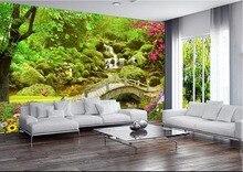 Custom mural 3d photo wallpaper bridge cranes and flowers home decor painting 3d wall murals wallpaper for living room walls 3 d