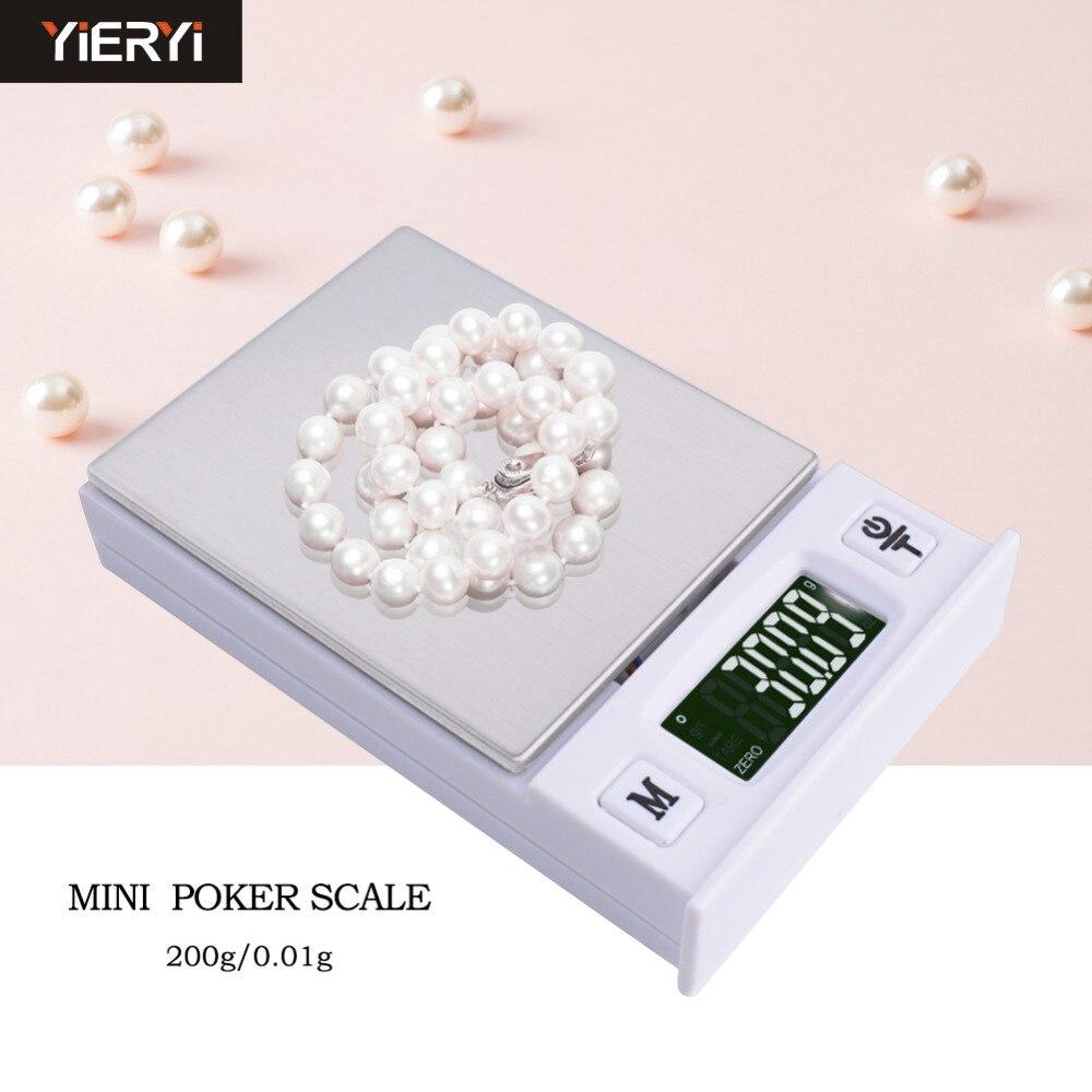Nueva Mini báscula de joyería multifuncional tipo póker electrónica para el hogar llamada báscula g de joyería 0,01G