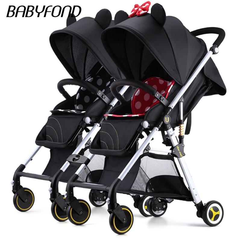 Cochecito para bebé Twins, se puede colocar, tumbona, superligero, plegable, portátil, para bebé, paraguas de bolsillo con paisaje alto, carros 12 Uds
