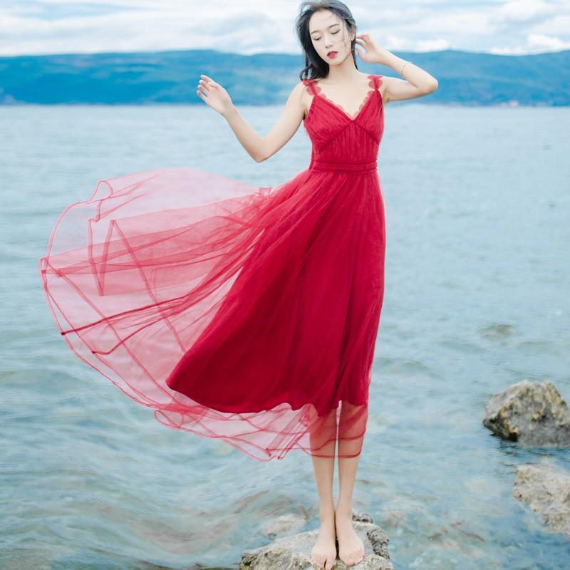 Summer women's new mesh tank dress yarn red V neck long female Bohemian seaside girl beach dresses loose casual chiffon dresses