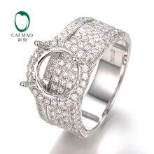 CaiMao 9mm Round Cut Semi Mount Ring Settings &1.79 ct Diamond 14k White Gold Engagement Fine Jewelry
