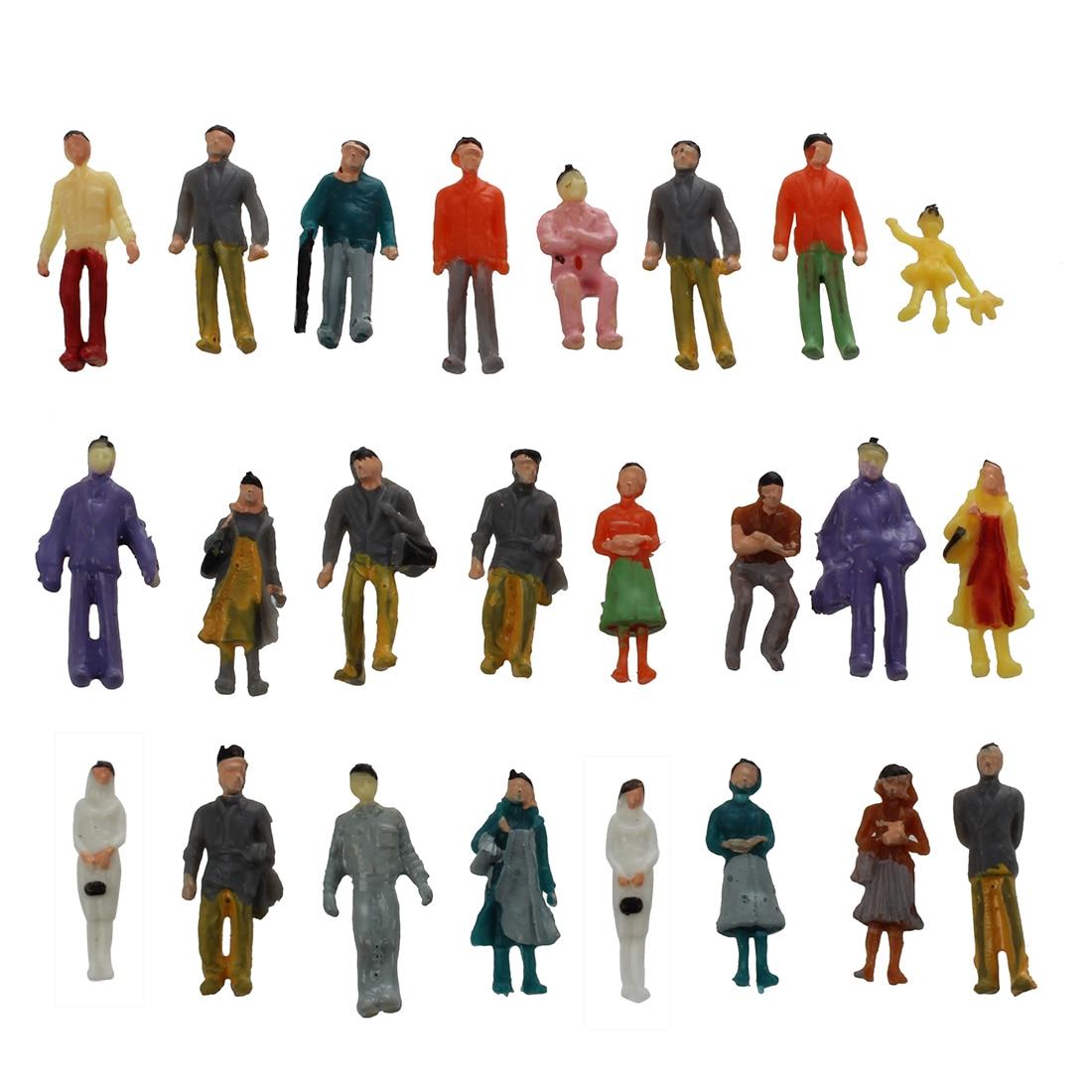 24 colado colorido pintado areia tabela modelo ferroviário passageiros figuras escala 1 a 87
