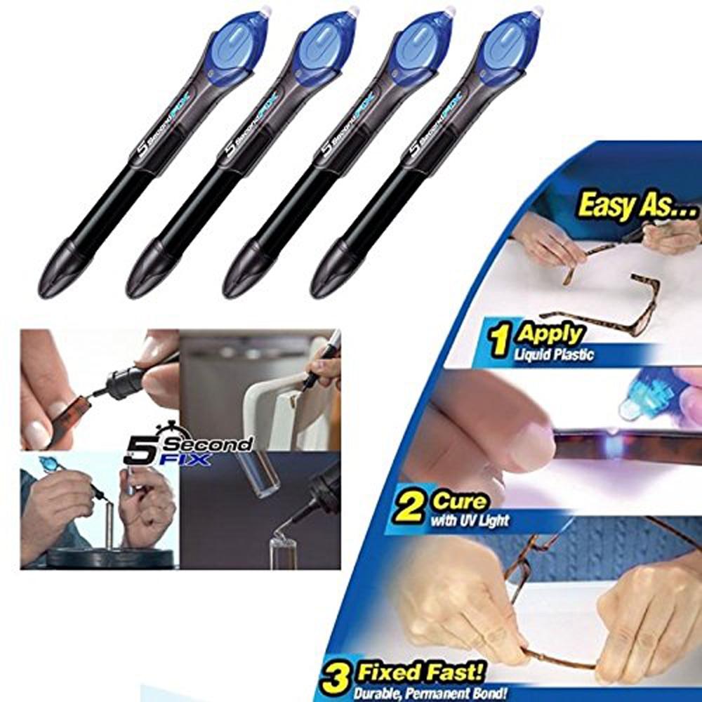 4pcs Super Power 5 Second Fix UV Light Repair Tool Glue Refill Liquid Plastic Welding Repair