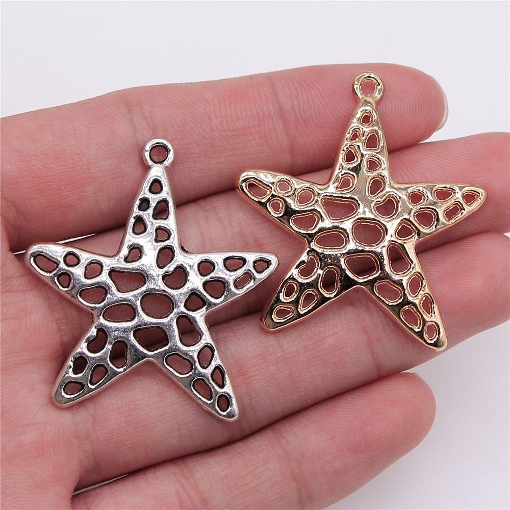 Colgante de estrella de mar de 40x36mm con 2 colores de 4 piezas de dijes de artesanía hechos a mano para hacer joyas de Winnie