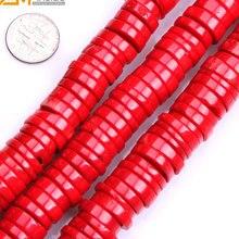 Gem-Binnen Rondelle Heishi (Geverfd Kleur) rode Koraal Kralen Voor Sieraden Maken Armband Ketting 15 Inch Diy Kralen Sieraden