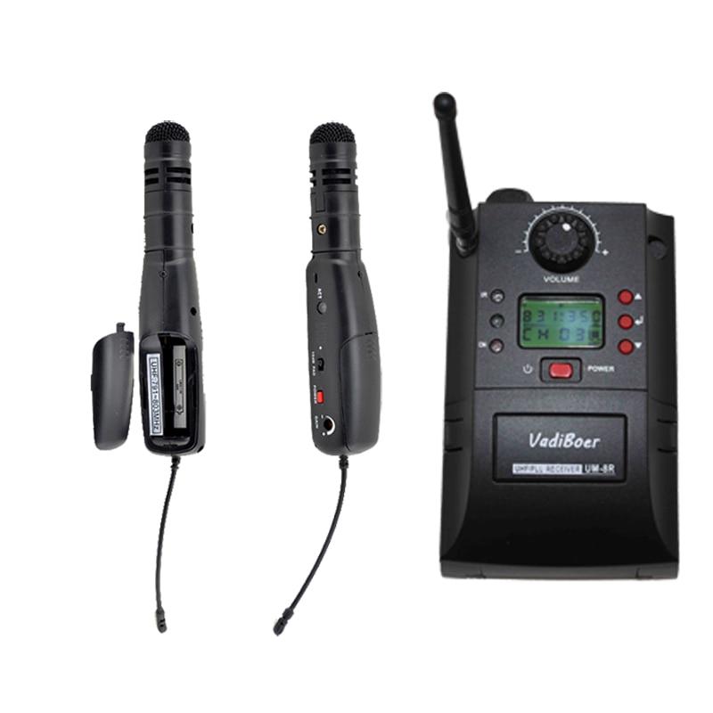 UM-8R sistema de cámara inalámbrica profesional UHF SISTEMA DE MICRÓFONO INALÁMBRICO Mini micrófono de entrevista inalámbrico OK-UM8R + AH13
