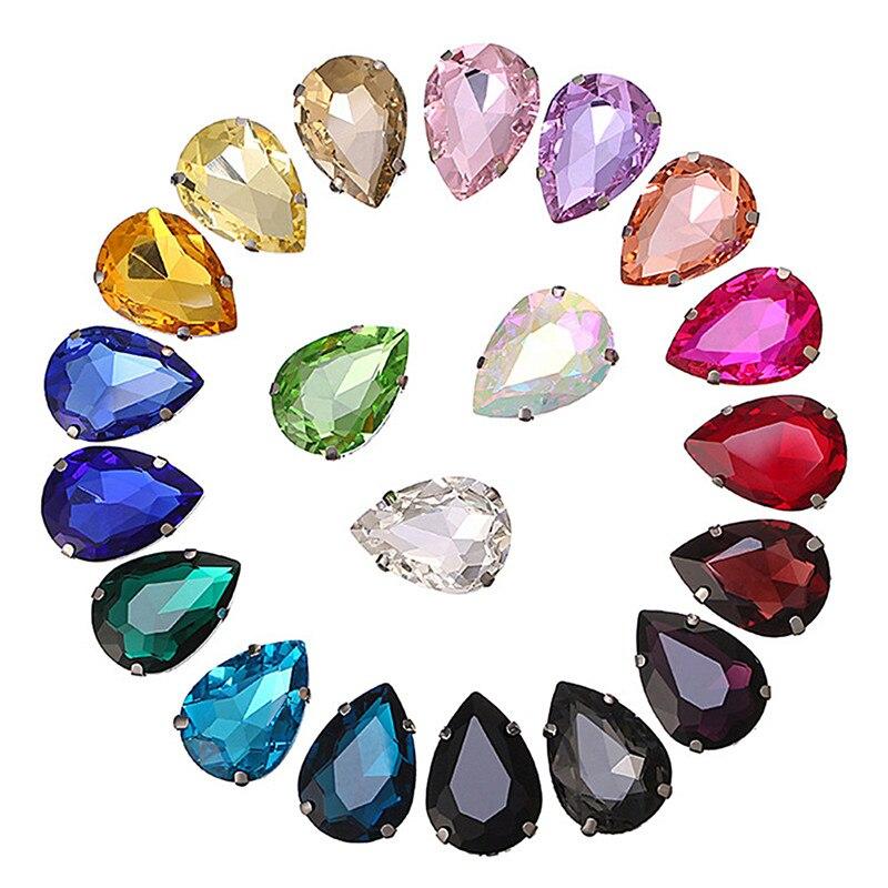 50 Uds. De diamantes de imitación de decoración de gota de agua 10*14mm 3d brillo encanto uña gema rueda de piedras DIY coser en accesorios de garra