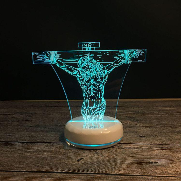 Jesus 3D LED Night Luz Decoração de Interiores Lâmpada de Carregamento USB 7 Alterar Cor Night Lâmpadas Com Base Branca Xmas Gift