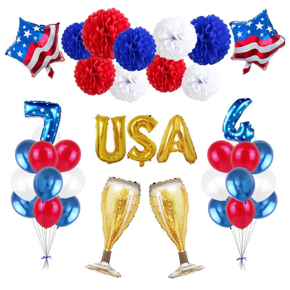 Día de la Independencia Americana 4 de Julio globo Set Bola de Flor de Papel globo de aluminio patriótica de EE. UU. Decoraciones del Día de la independencia