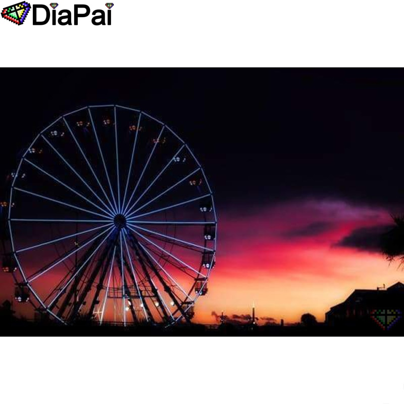 "DIAPAI Diamond Painting 5D DIY 100% Full Square/Round Drill ""Ferris wheel"" Diamond Embroidery Cross Stitch 3D Decor A24226"