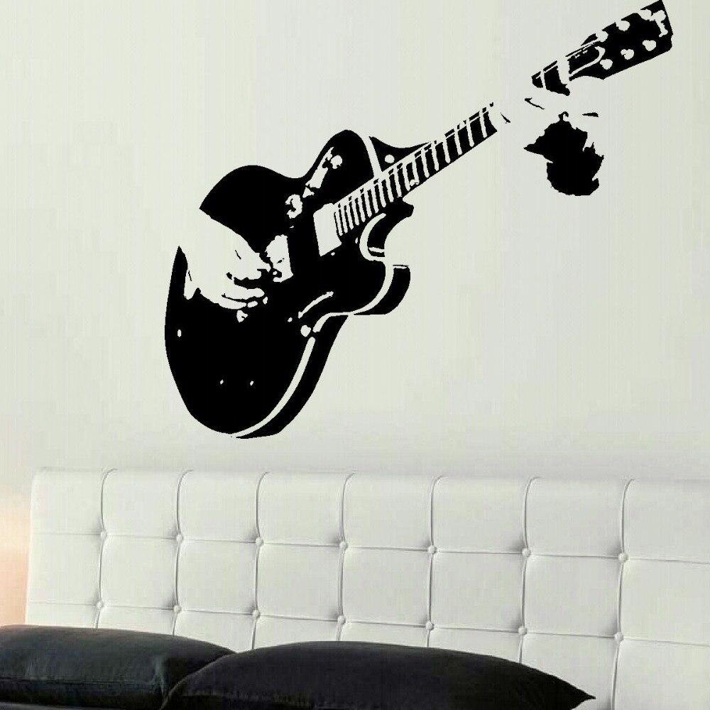 Большой гитара XTRA, гигантский настенный стикер для гитары, трафарет, переводная наклейка, наклейки на стену, домашний декор