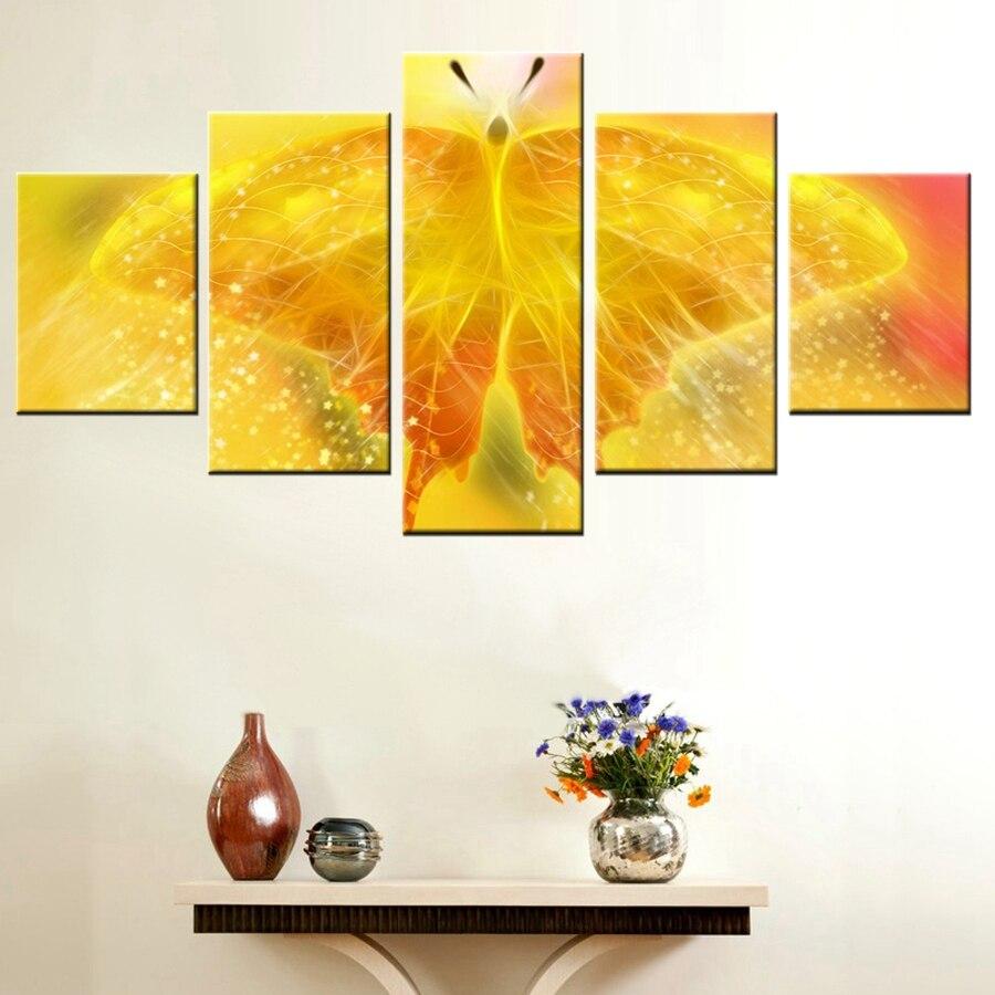 5 piezas personalizadas, mariposas amarillas sin marco, arte de pared, lienzo grande, pinturas imágenes impresas en HD al óleo para el hogar, dormitorio, Animal