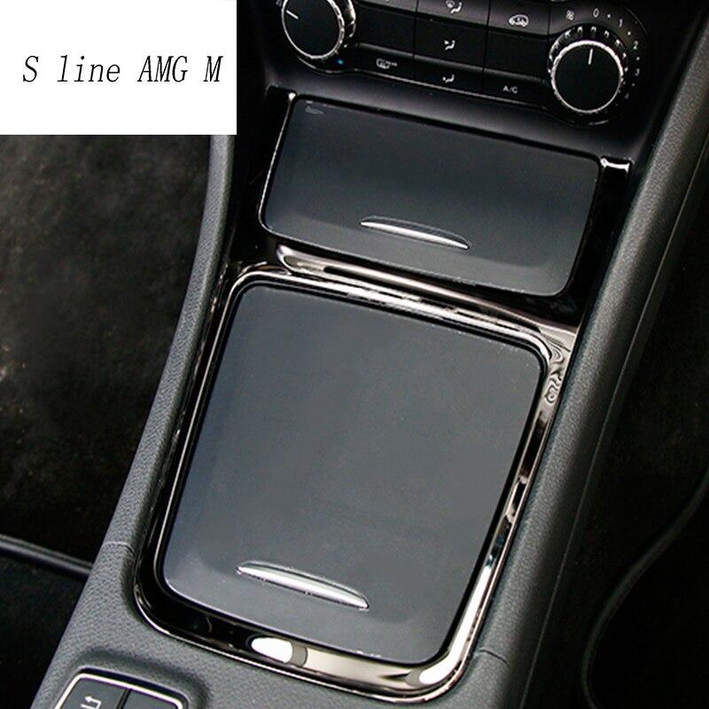 Auto styling Innen Zubehör Zentrum Speicher Box Trimmen Aschenbecher Rahmen edelstahl Für Mercedes Benz CLA GLA Eine Klasse W117 C117