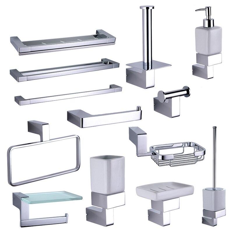 Хромированная стойка для ванной, Аппаратные аксессуары, наборы, латунный дозатор для душа, диспенсер для мыла, полотенце, рельсы, крючки для ...