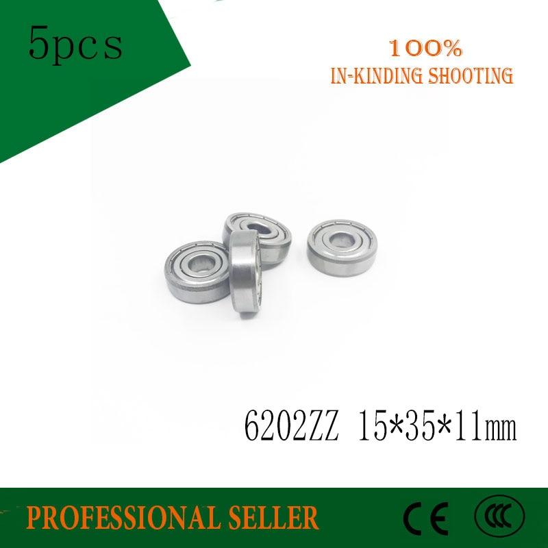5 unids/lote 6202ZZ 6202 ZZ 15x35x11mm Mini rodamiento de bolas en miniatura rodamiento rígido de bolas a estrenar