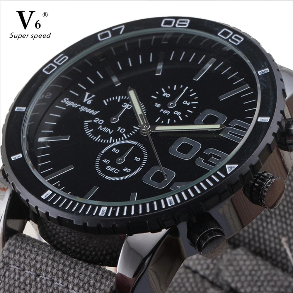 2016 nuevos hombres de la Moda hombre al aire libre V6 deporte relojes de cuarzo elegante correa de lona militar reloj mejor regalo reloj de pulsera para hombre regalo