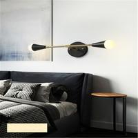 Copper Nordic Wall Lamp Double Head Bedroom Bedside Light Simple Living Room Aisle Corridor Lights Decorative Lamps