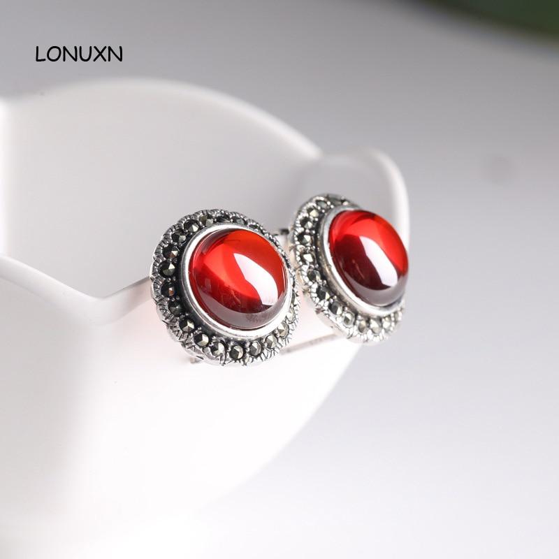 18mm 2 colores plata de ley 925 moda alta joyería de calidad rojo retro Granada negro pendientes piedras semipreciosas naturales