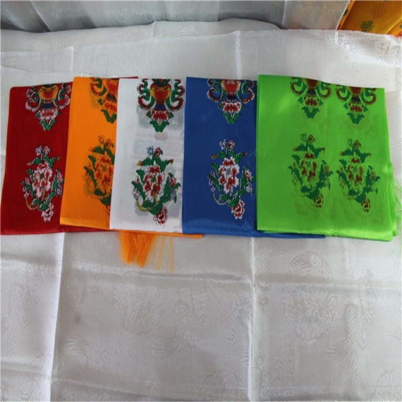 Ocho símbolos propicios mano fantástica impresa 5 colores tela Tibet ceremonia decorativo Streamer precioso satén budista