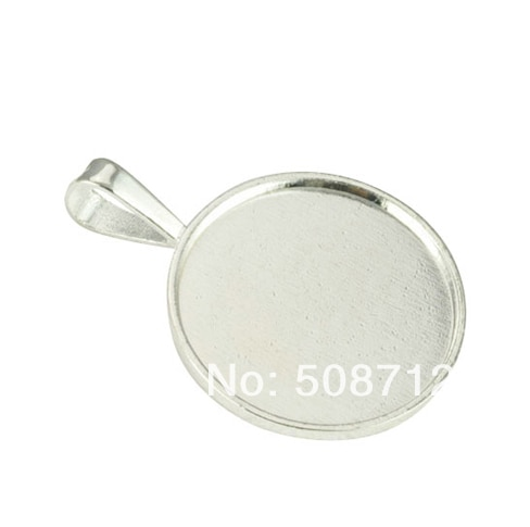 Free Ship!!! 50pcs 25mm silver plated glass pendant setting, pendant blank, pendant tray-  Bezel Setting - Pendant Setting
