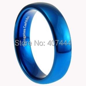 ¡Envío gratis! anillo de boda de tungsteno pulido azul brillante de 6MM con cúpula para mujeres y hombres Reino Unido Canadá Rusia Brasil gran oferta