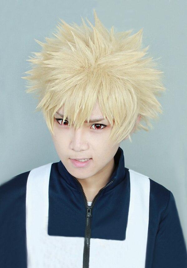 Костюм для косплея My Boku no Hero actoria Bakugou Katsuki Bakugo, короткий льняной блонд, термостойкий
