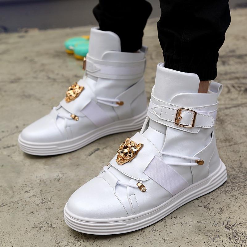 Мужские ботинки в стиле «панк» с заклепками, металлическими элементами, в стиле «хип-хоп», белого цвета, на плоской подошве, с пряжкой, Zapatillas Hombre #39
