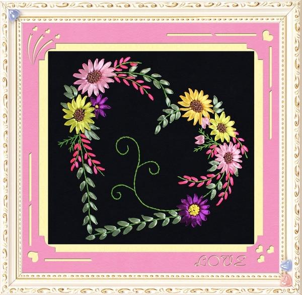 Kit Fita Bordados DIY Cross stitch Define para o Bordado chinês, coração do Amor flores handwork de Ponto-Cruz decoração da parede