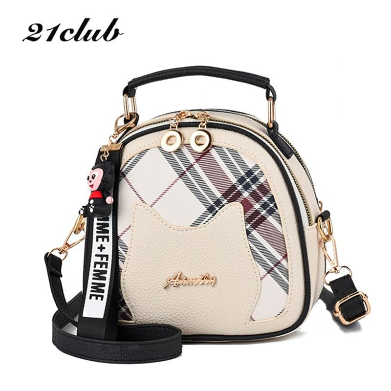 21CLUB Brand Mini Summer Style Casual Plaid Striped Ladies Totes Shopping Versatile Womens Wallet PU Cute Women Messenger Bags