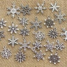 Mixte 100 pièces neige breloques ndants perles en alliage de métal pendentif couleur Antique noël breloque bricolage