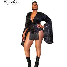 Wjustforu Black Elegant Sequin Mini Dress Female V Neck Sexy Bell Sleeve Fashion Dresses Vestidos Bodycon Striped Casual Dress
