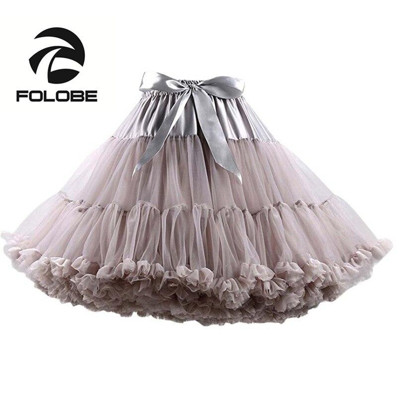 FOLOBE gris danse jupe taille haute robe de bal Tulle Tutu jupes Costume jupon femmes adulte tutu Faldas Saias Femininas TT004