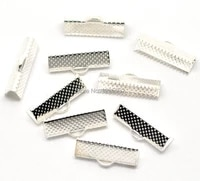 30pcs textured end beads caps crimp alloy metal silver plated fit chain tassel jewelry diy making findings charms 20x8mm