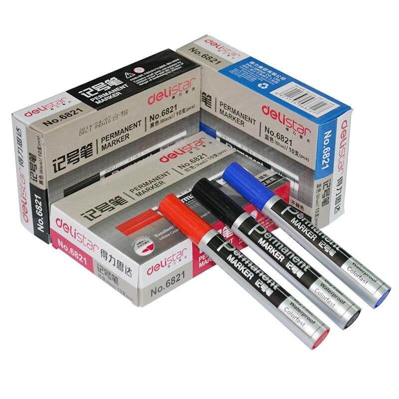 Paquete de correo QSHOIC 10 unids/set marcador efectivo 6821 bolígrafo aceitoso CD bolígrafo de cabeza grande logística marcador oleoso de suministros de oficina