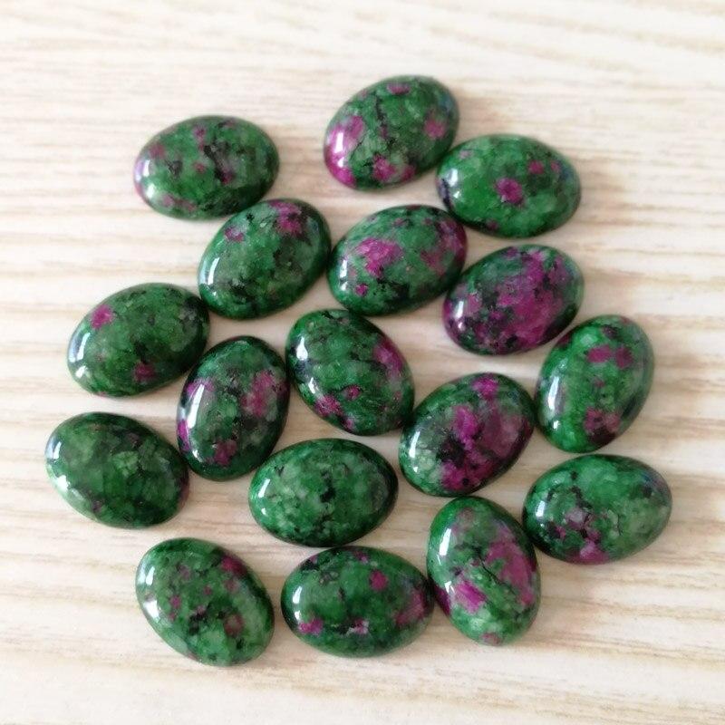 Atacado moda natural epidote pedra contas encantos 13x18mm oval CAB CABOCHON 50 pcs para jóias acessórios Livre grátis
