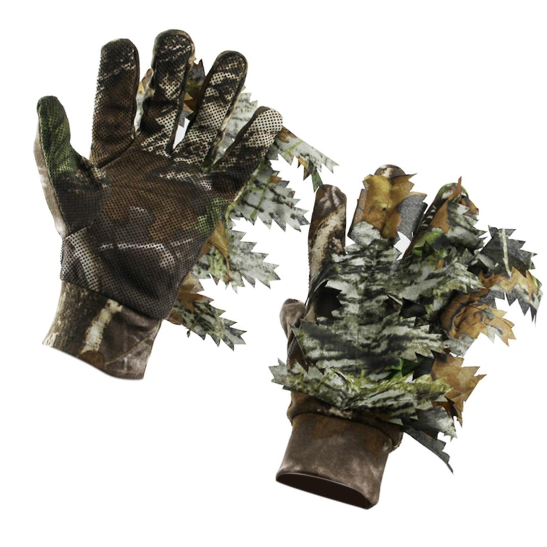 Nuevos guantes de camuflaje de hoja 3D MODIKER 2019, guantes de caza para exteriores, guantes antideslizantes con dedos completos, tamaño libre
