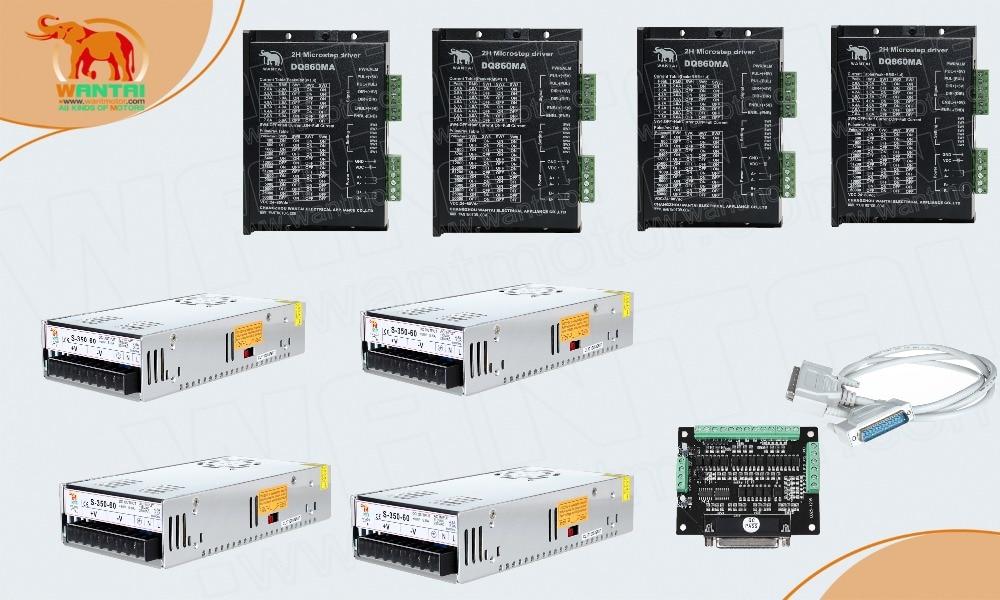 (Envío alemán, libre a la UE) 4 Uds controladores DQ860MA, 7.8A/80VDC, 256 Microstep y 4 Uds 350 W, 60VDC proveedores de potencia CNC impresora 3D