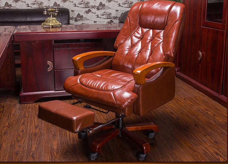 Home computer chair. Can lie up and down boss chair. Real leather swivel chair fixed armrest leather art office chair.23 real leather boss chair can lie high grade massage computer chair home office chair real wood swivel chair 08