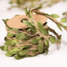 1 Uds gran oferta 5M verde artificial hojas tejidas cuerda de cáñamo DIY boda cumpleaños decoración regalo empaque de ramo cuerda