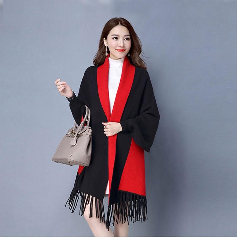 Mingjiebihuo nuevo Poncho chal de Cachemira con mangas mujeres en otoño e invierno grueso cálido doble cara borla firme capa niñas