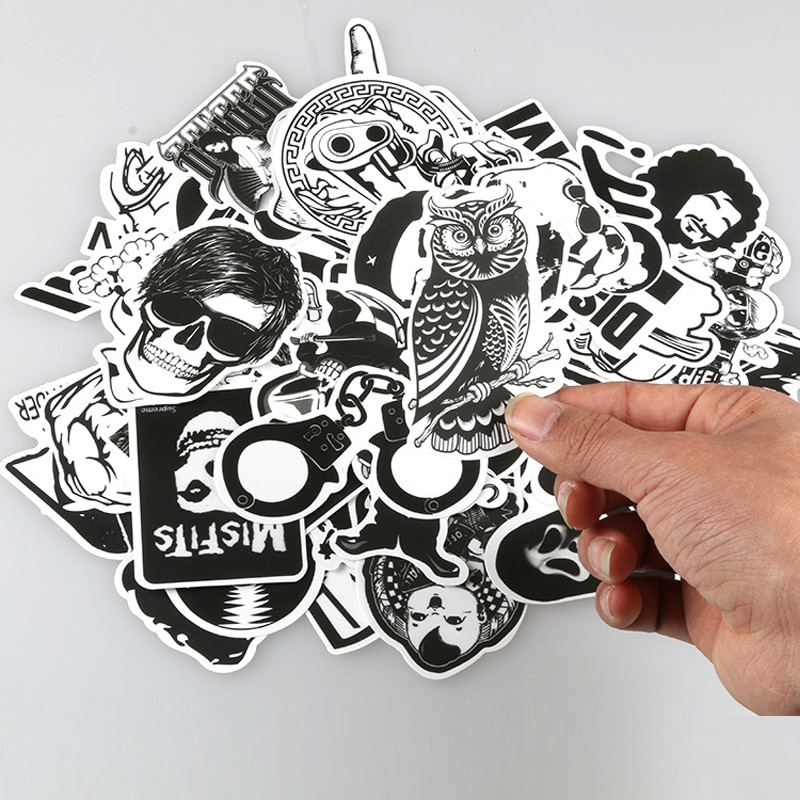 60 unids/lote, pegatina al azar en blanco y negro, pegatina de Graffiti Punk JDM para pegatina infantil, para ordenador portátil, patineta, Maleta, casco de bicicleta