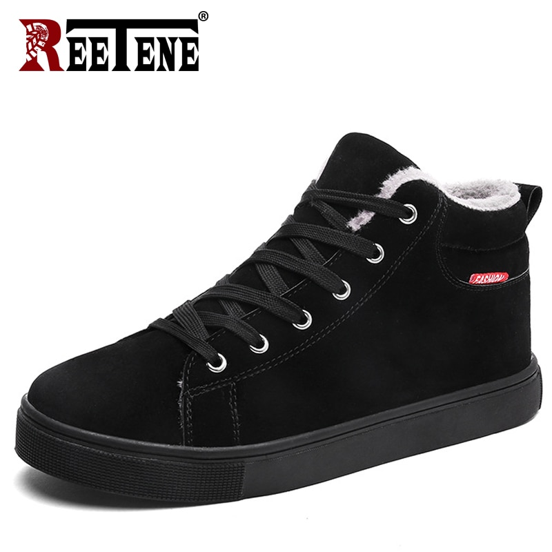 Reetene 2018 novos sapatos de inverno dos homens confortáveis de alta qualidade botas de pele dos homens moda super quente sapatos de inverno masculino botas
