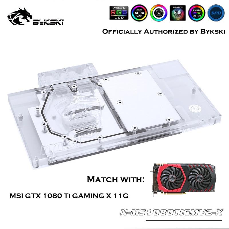 Bykski N-MS1080TIGMV2-X, bloque de agua GPU de cobertura completa para VGA MSI GTX 1080 TI GAMING X 11G, tarjeta gráfica, disipador térmico de refrigeración por agua